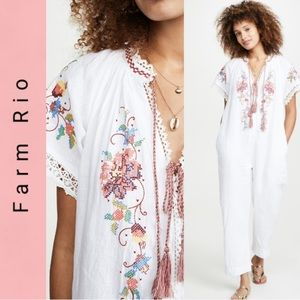 NWT FARM RIO linen embroidered jumpsuit